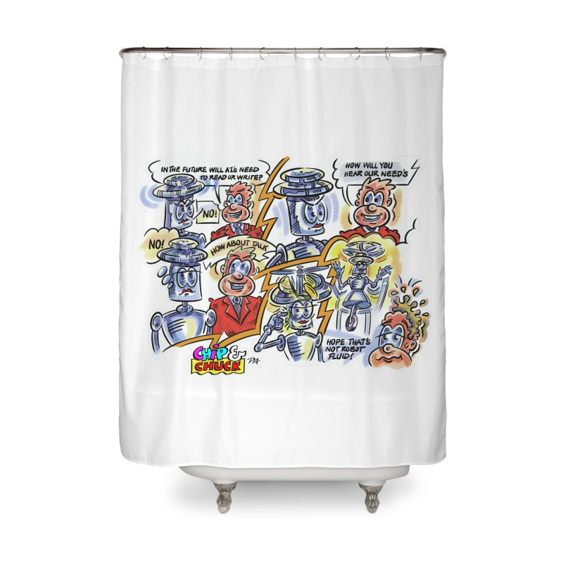 CHIP fly and robot fluid Home Shower Curtain by thethinkforward's Artist Shop
