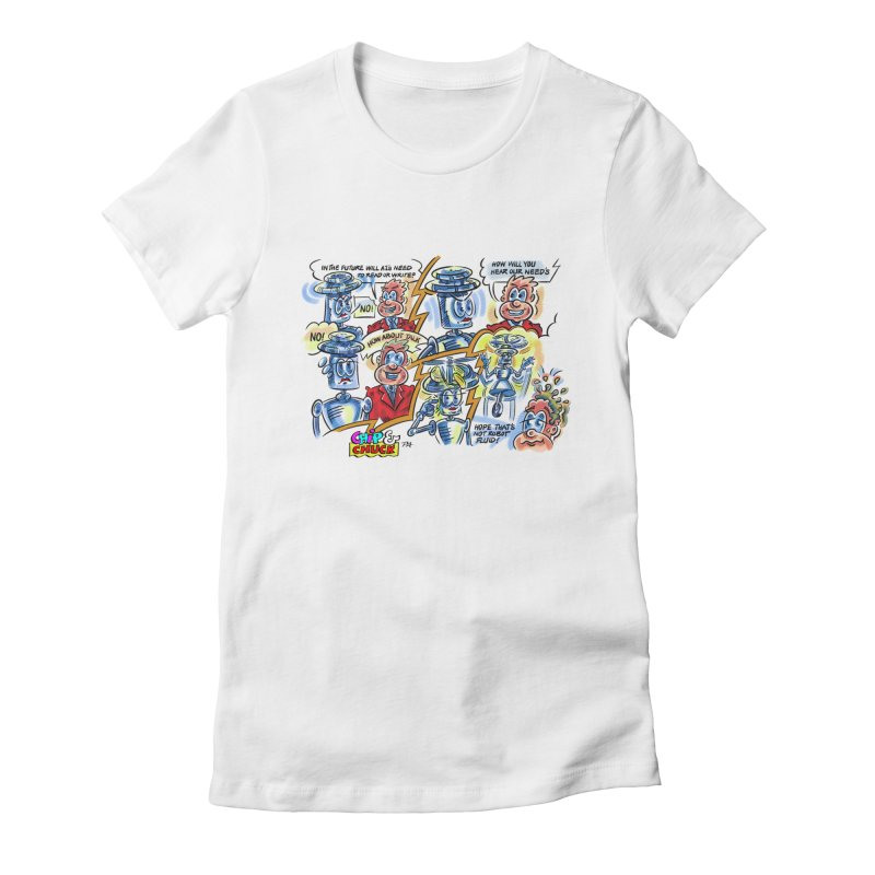 CHIP fly and robot fluid Women's Fitted T-Shirt by thethinkforward's Artist Shop