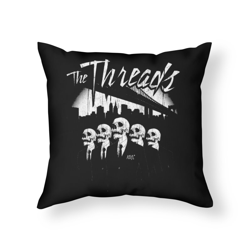 Skeletons in the City Home Throw Pillow by THE THREADS NYC's Artist Shop