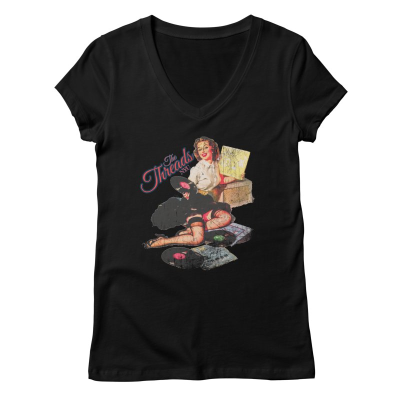 Pinup Girl - Distressed Women's V-Neck by THE THREADS NYC's Artist Shop