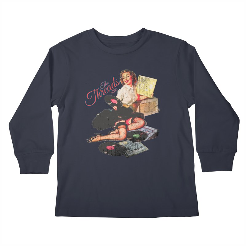 Pinup Girl - Distressed Kids Longsleeve T-Shirt by THE THREADS NYC's Artist Shop
