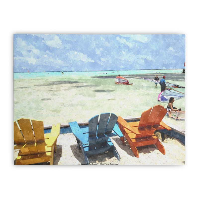A day at the Beach Home Stretched Canvas by The Time Traveler's -  Artist Shop