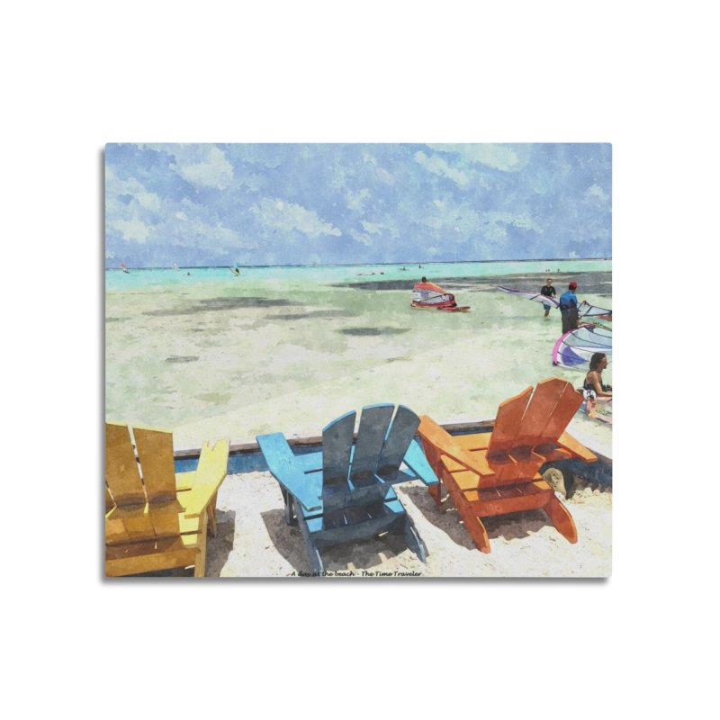 A day at the Beach Home Mounted Aluminum Print by The Time Traveler's -  Artist Shop