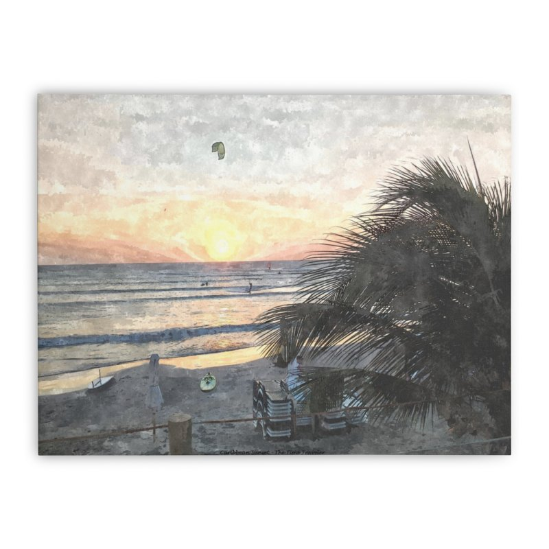 Caribbean Sunset Home Stretched Canvas by The Time Traveler's -  Artist Shop