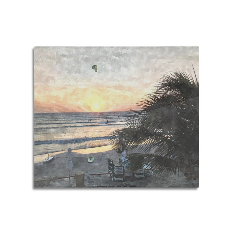 Caribbean Sunset Home Mounted Aluminum Print by The Time Traveler's -  Artist Shop