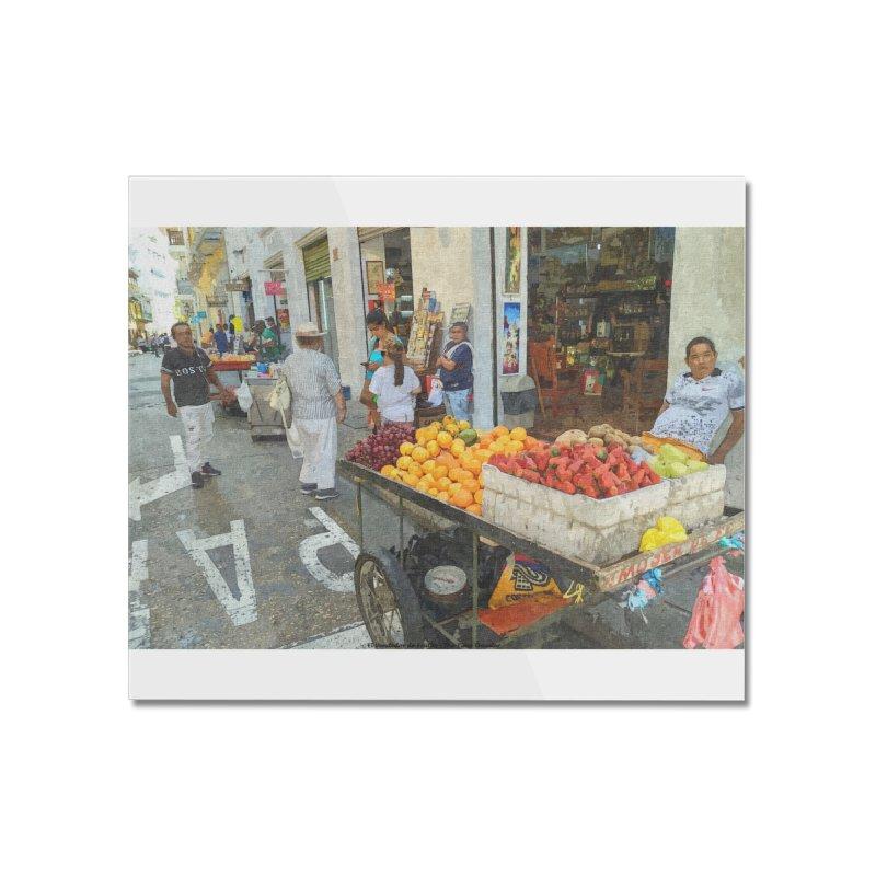 el vendedor de frutas Home Mounted Acrylic Print by The Time Traveler's -  Artist Shop