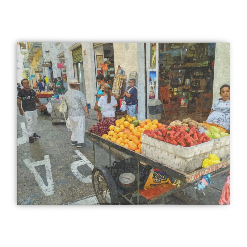 el vendedor de frutas Home Stretched Canvas by The Time Traveler's -  Artist Shop