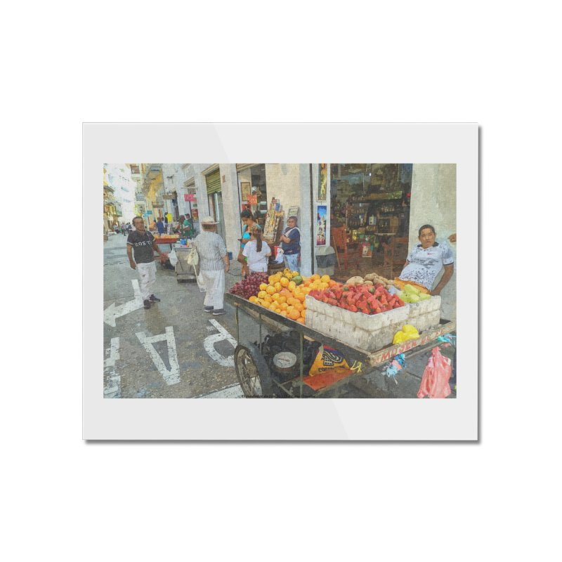 el vendedor de frutas Home Mounted Acrylic Print by The Time Traveler's -  Artist Shop