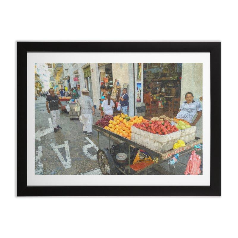 el vendedor de frutas Home Framed Fine Art Print by The Time Traveler's -  Artist Shop