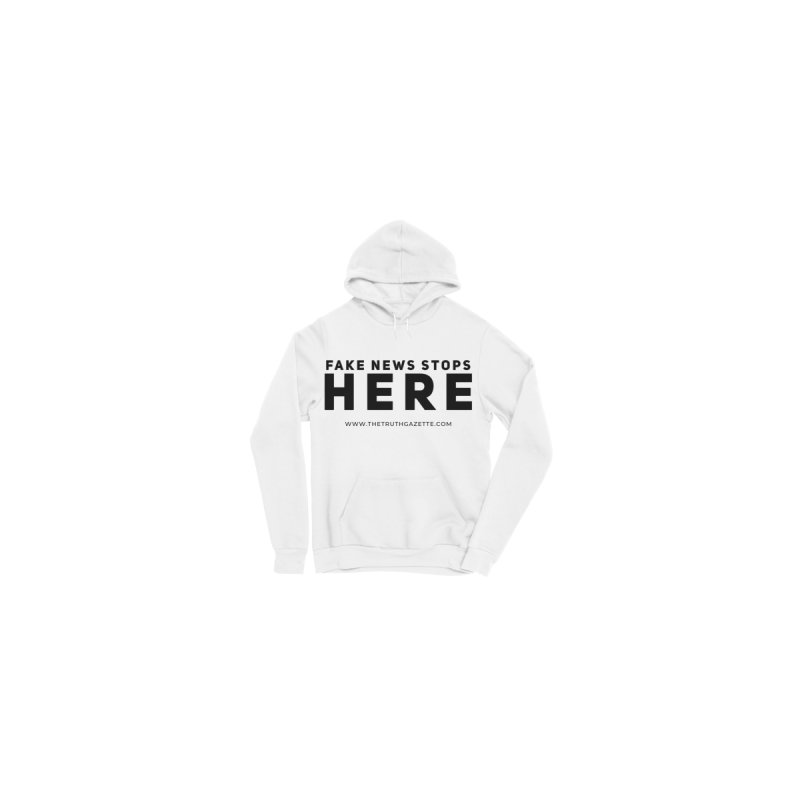 Fake News Stops Here Pullover Hoodie by The Truth Gazette's Shop