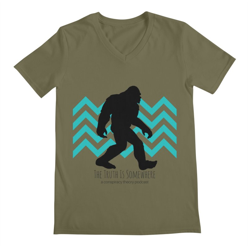 Bigfoot Is Somewhere Men's Regular V-Neck by The Truth Is Somewhere