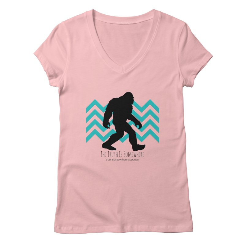 Bigfoot Is Somewhere Women's Regular V-Neck by The Truth Is Somewhere