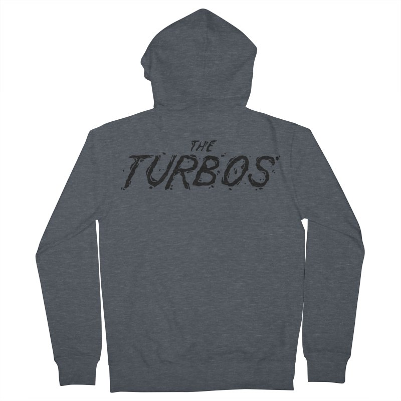 Black Splat Script Women's French Terry Zip-Up Hoody by The Turbos Merch Stand