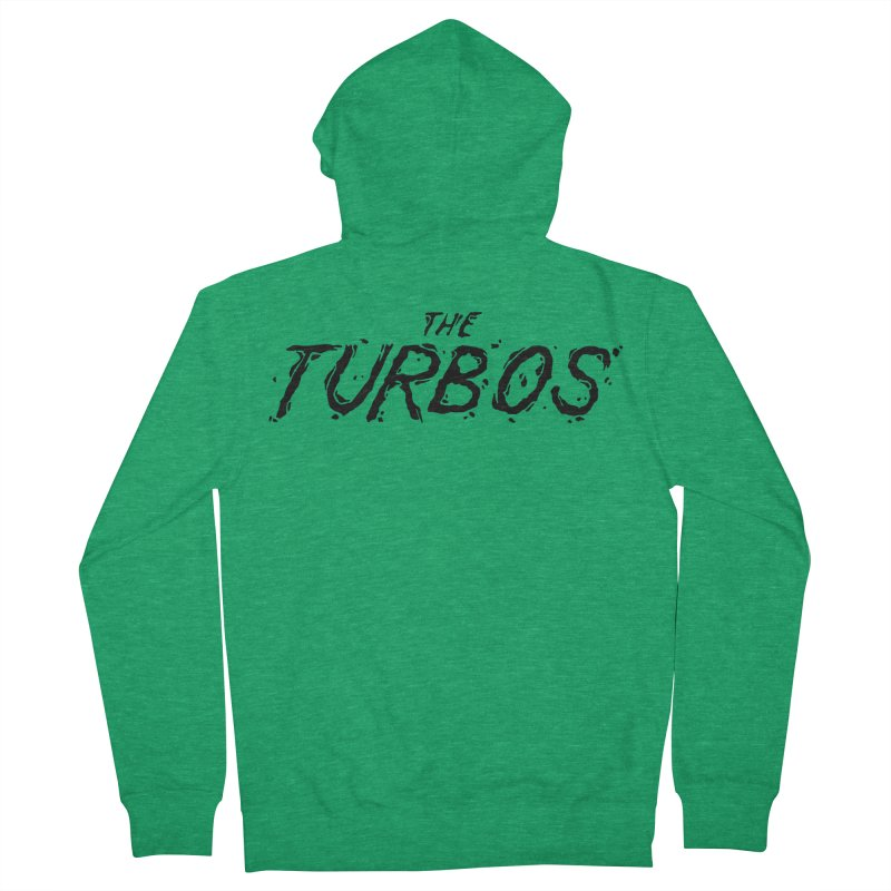 Black Splat Script Men's French Terry Zip-Up Hoody by The Turbos Merch Stand