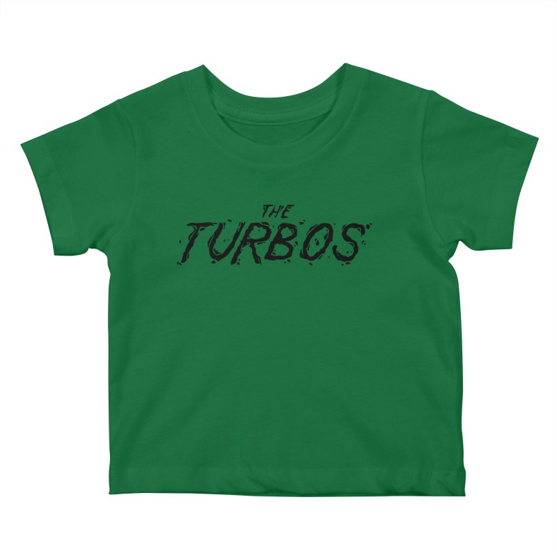 Black Splat Script Kids Baby T-Shirt by The Turbos Merch Stand