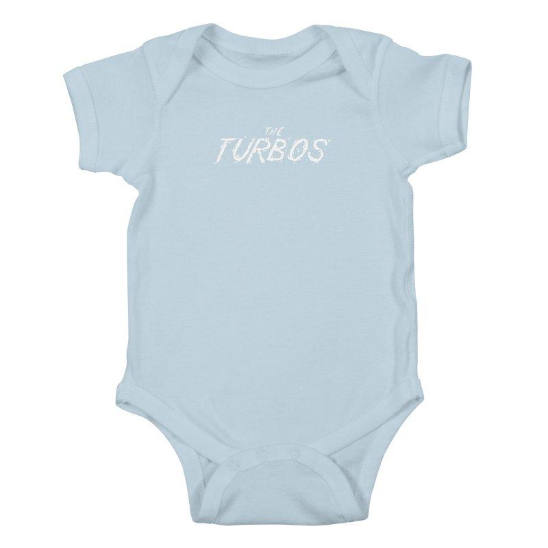 White Splat Script Kids Baby Bodysuit by The Turbos Merch Stand
