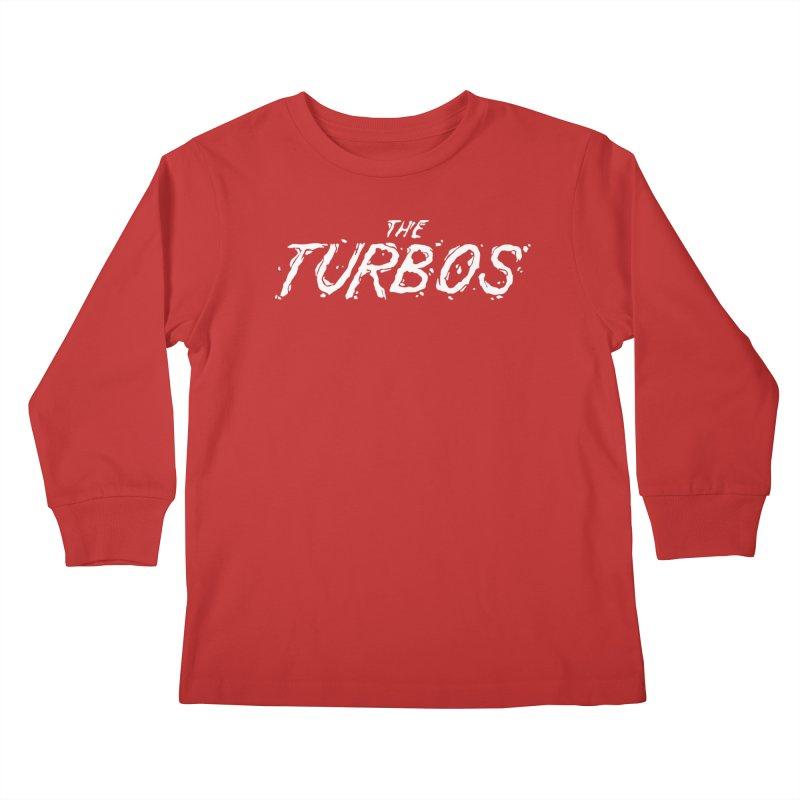 White Splat Script Kids Longsleeve T-Shirt by The Turbos Merch Stand