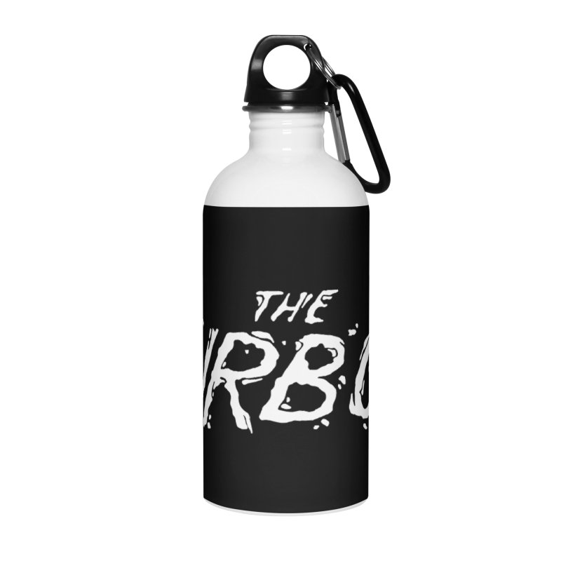 White Splat Script Accessories Water Bottle by The Turbos Merch Stand