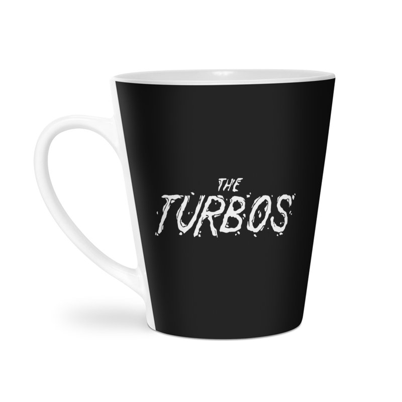 White Splat Script Accessories Latte Mug by The Turbos Merch Stand