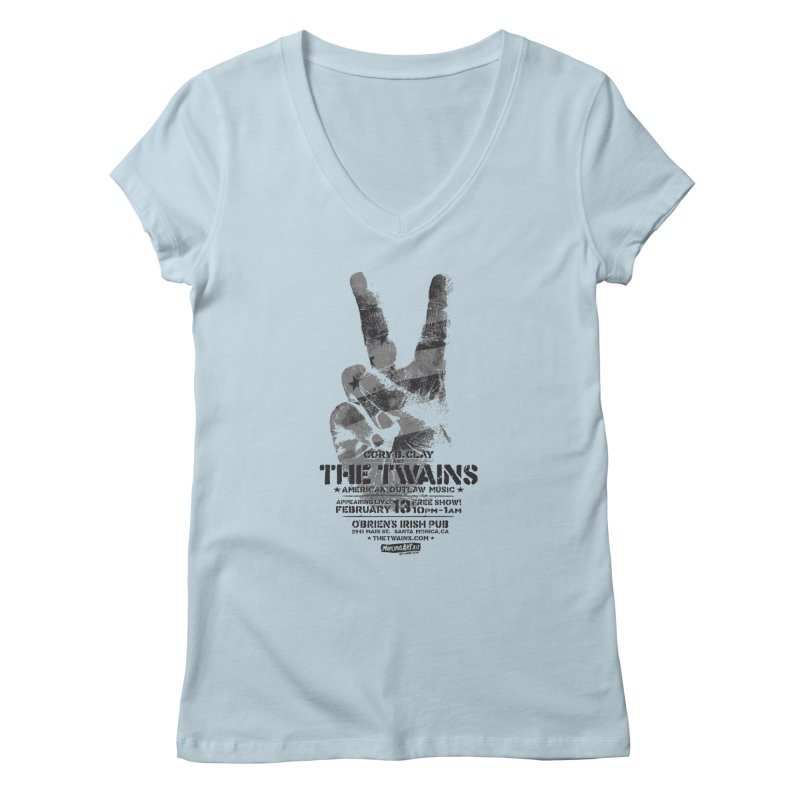 Twains Peace & Music Women's V-Neck by The Twains' Artist Shop