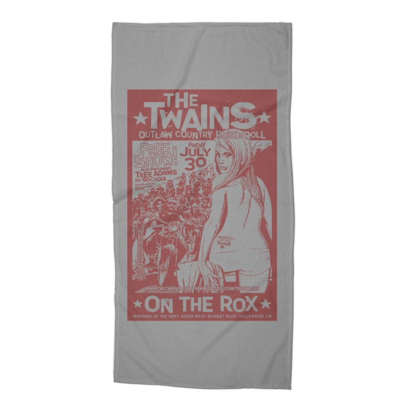 Twains Bikers on the Rox Accessories Beach Towel by The Twains' Artist Shop