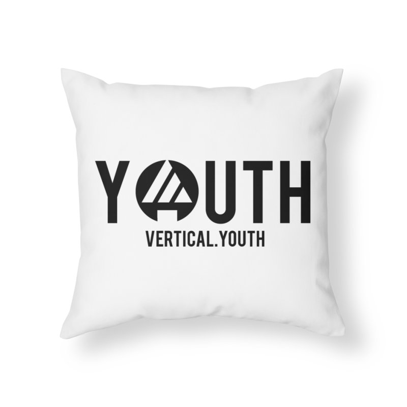 Youth Logo Black Home Throw Pillow by the vertical church's Artist Shop