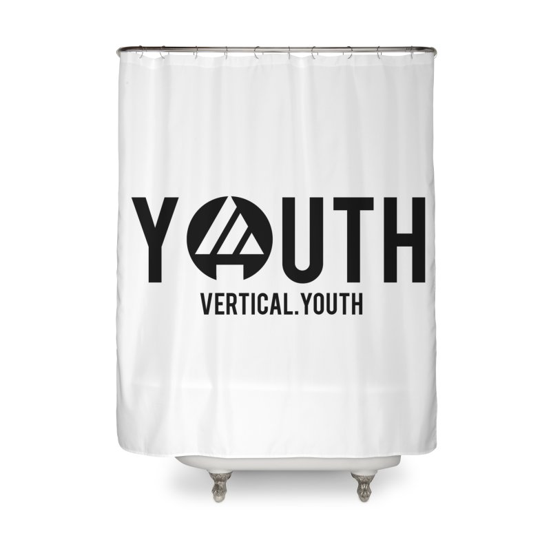 Youth Logo Black Home Shower Curtain by the vertical church's Artist Shop