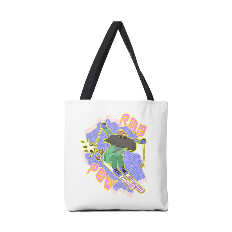 True '80s Ski Legend - Rad Pow Accessories Tote Bag Bag by The Wandering Fools