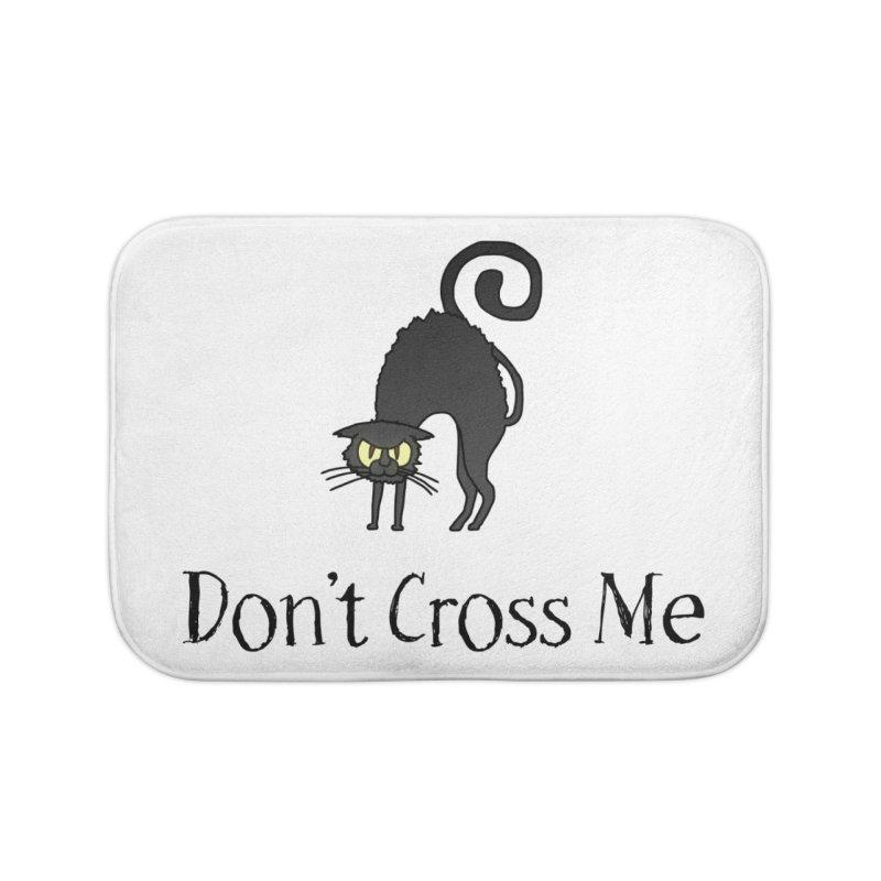 Don't Cross Me - Black Cat Home Bath Mat by The Wandering Fools Artist Shop