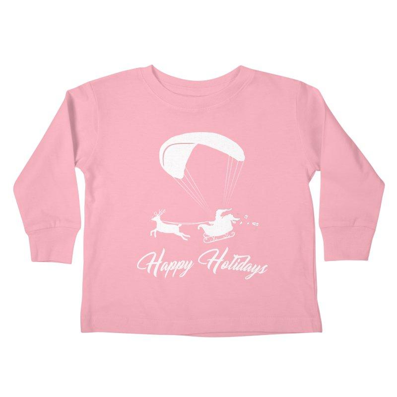 Happy Holidays - Paragliding Santa Kids Toddler Longsleeve T-Shirt by The Wandering Fools