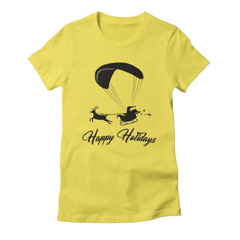 Happy Holidays - Paragliding Santa Women's T-Shirt by The Wandering Fools Artist Shop