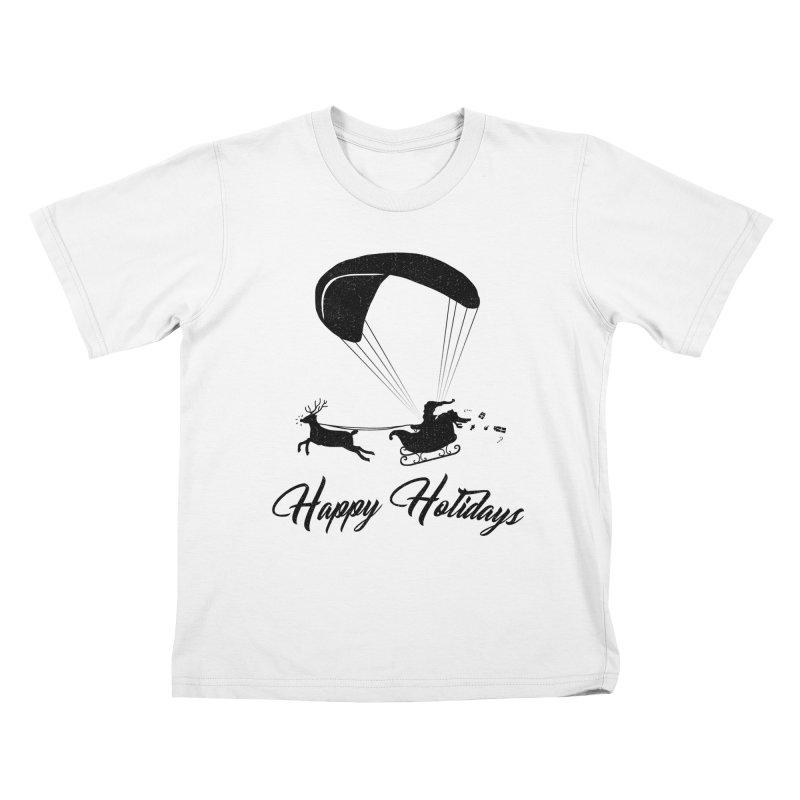 Happy Holidays - Paragliding Santa Kids T-Shirt by The Wandering Fools Artist Shop
