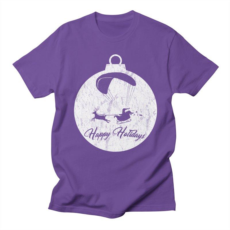 Happy Holidays - Paragliding Santa - Ornament in Men's Regular T-Shirt Purple by The Wandering Fools
