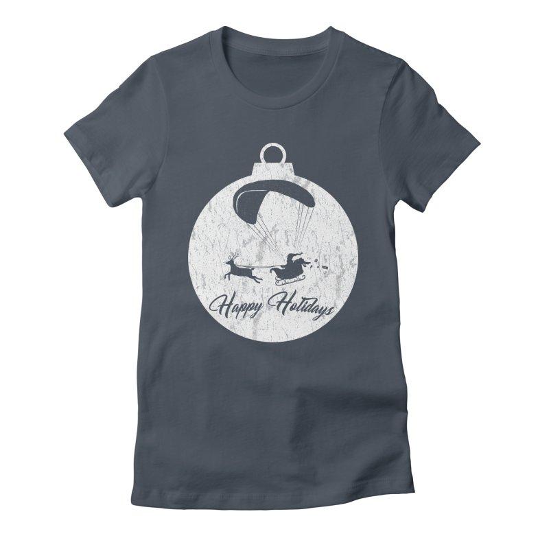 Happy Holidays - Paragliding Santa - Ornament Women's T-Shirt by The Wandering Fools Artist Shop