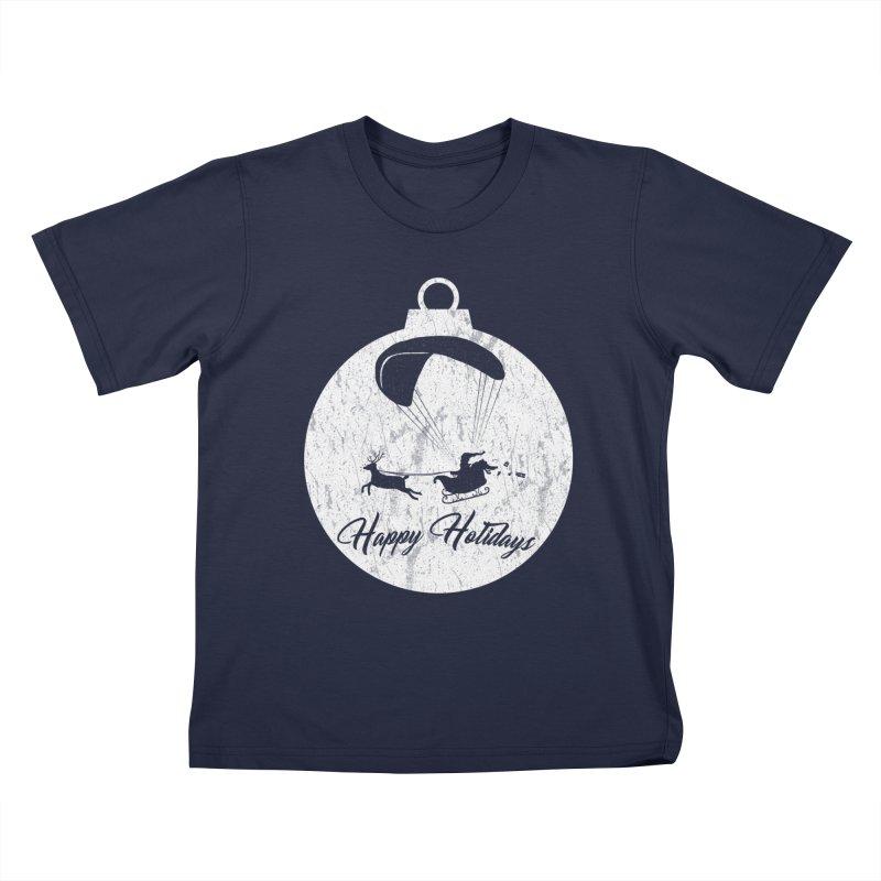 Happy Holidays - Paragliding Santa - Ornament Kids T-Shirt by The Wandering Fools Artist Shop