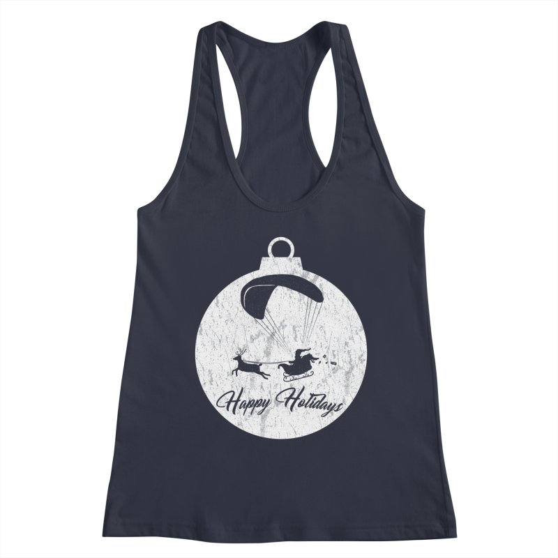 Happy Holidays - Paragliding Santa - Ornament in Women's Racerback Tank Midnight by The Wandering Fools