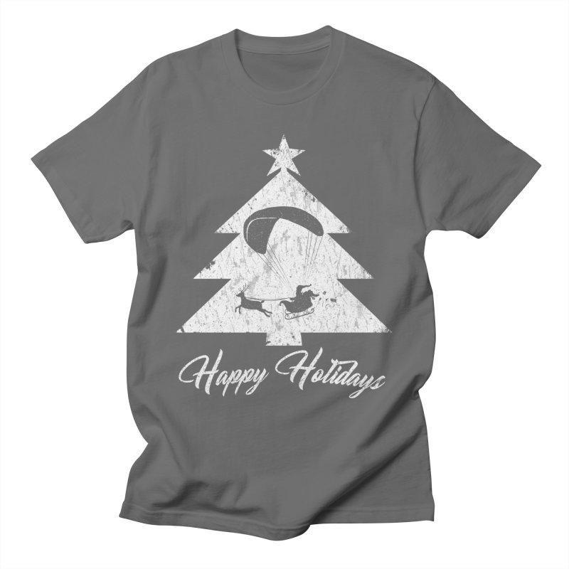 Happy Holidays - Paragliding Santa - Christmas Tree Men's T-Shirt by The Wandering Fools Artist Shop