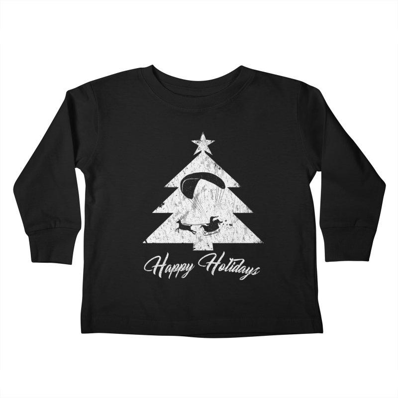 Happy Holidays - Paragliding Santa - Christmas Tree Kids Toddler Longsleeve T-Shirt by The Wandering Fools