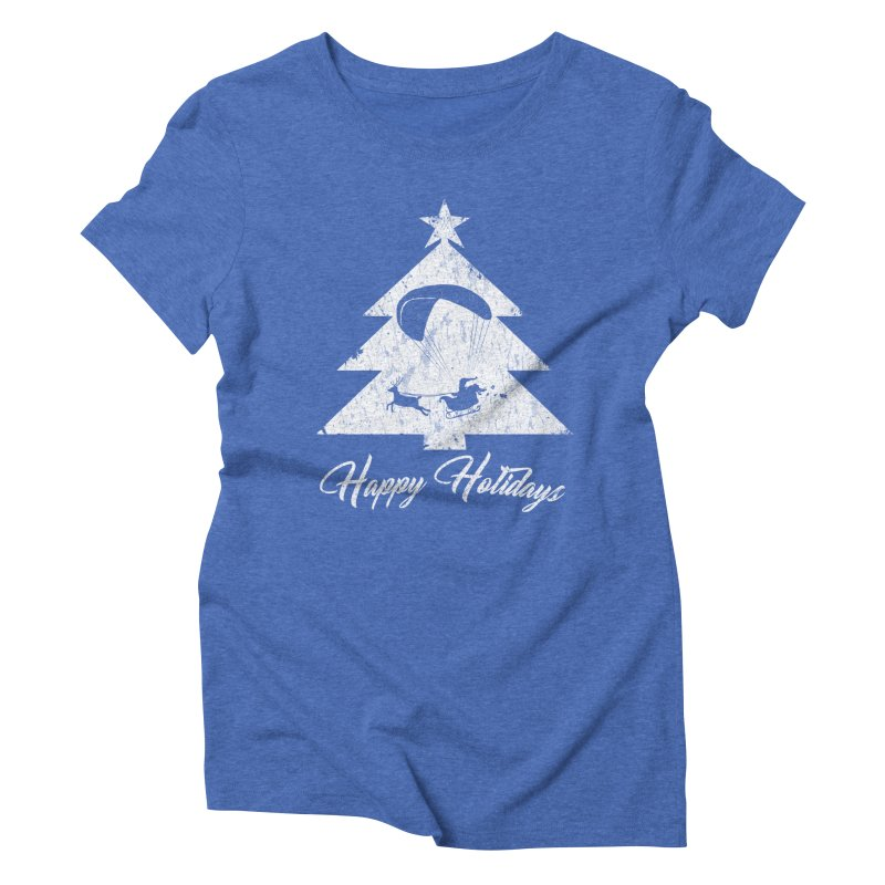 Happy Holidays - Paragliding Santa - Christmas Tree in Women's Triblend T-Shirt Blue Triblend by The Wandering Fools