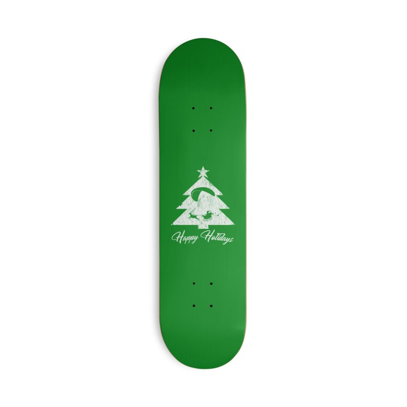 Happy Holidays - Paragliding Santa - Christmas Tree Accessories Skateboard by The Wandering Fools Artist Shop