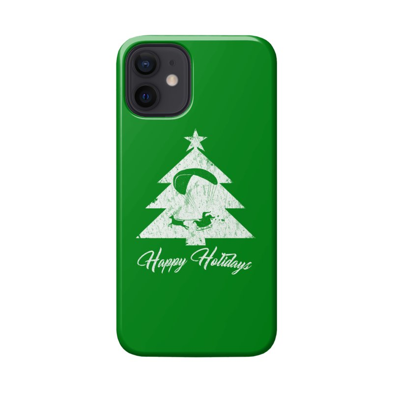 Happy Holidays - Paragliding Santa - Christmas Tree Accessories Phone Case by The Wandering Fools Artist Shop