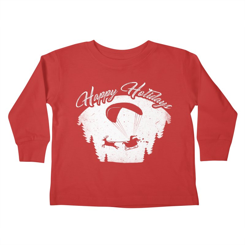Happy Holidays - Paragliding Santa - Night Sky Kids Toddler Longsleeve T-Shirt by The Wandering Fools