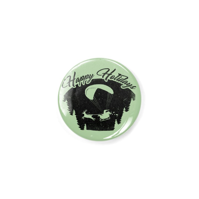 Happy Holidays - Paragliding Santa - Night Sky Accessories Button by The Wandering Fools Artist Shop