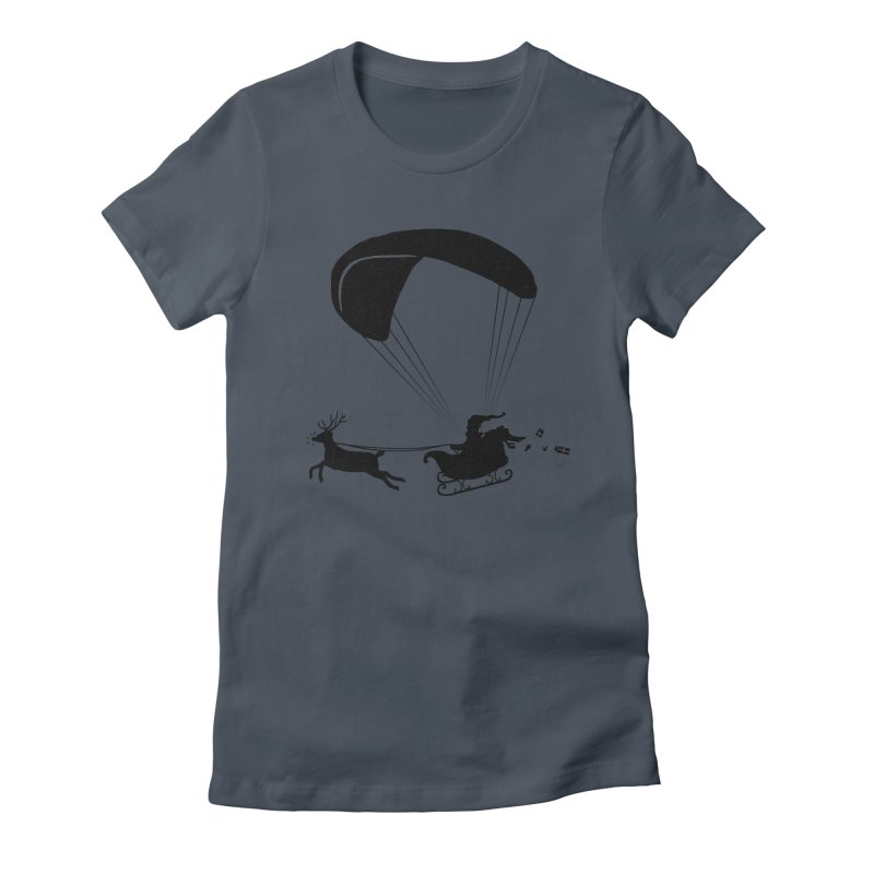Happy Holidays - Paragliding Santa - Textless Women's T-Shirt by The Wandering Fools Artist Shop
