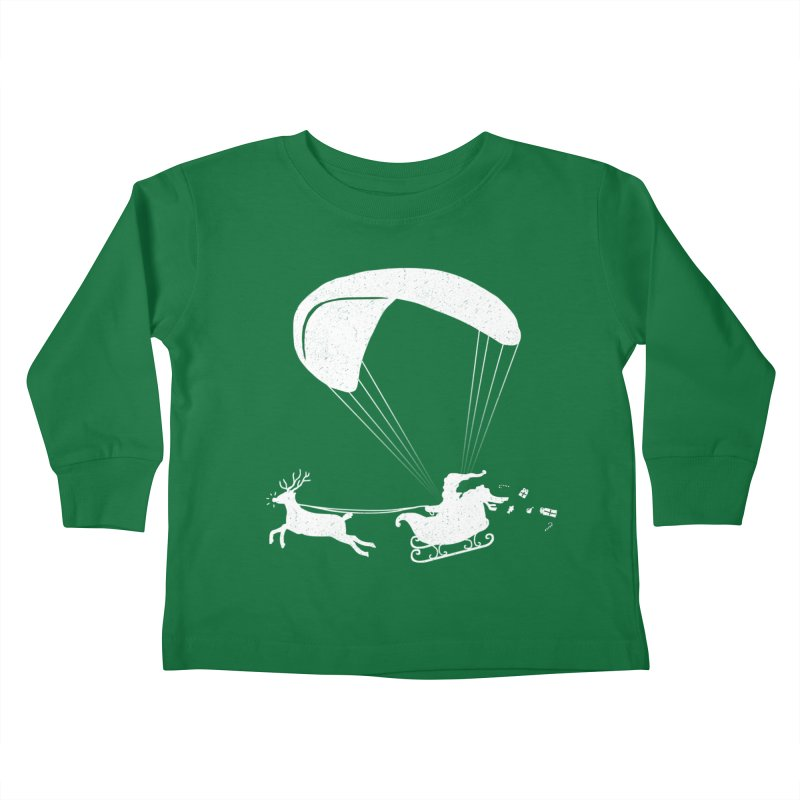 Happy Holidays - Paragliding Santa- Textless Kids Toddler Longsleeve T-Shirt by The Wandering Fools