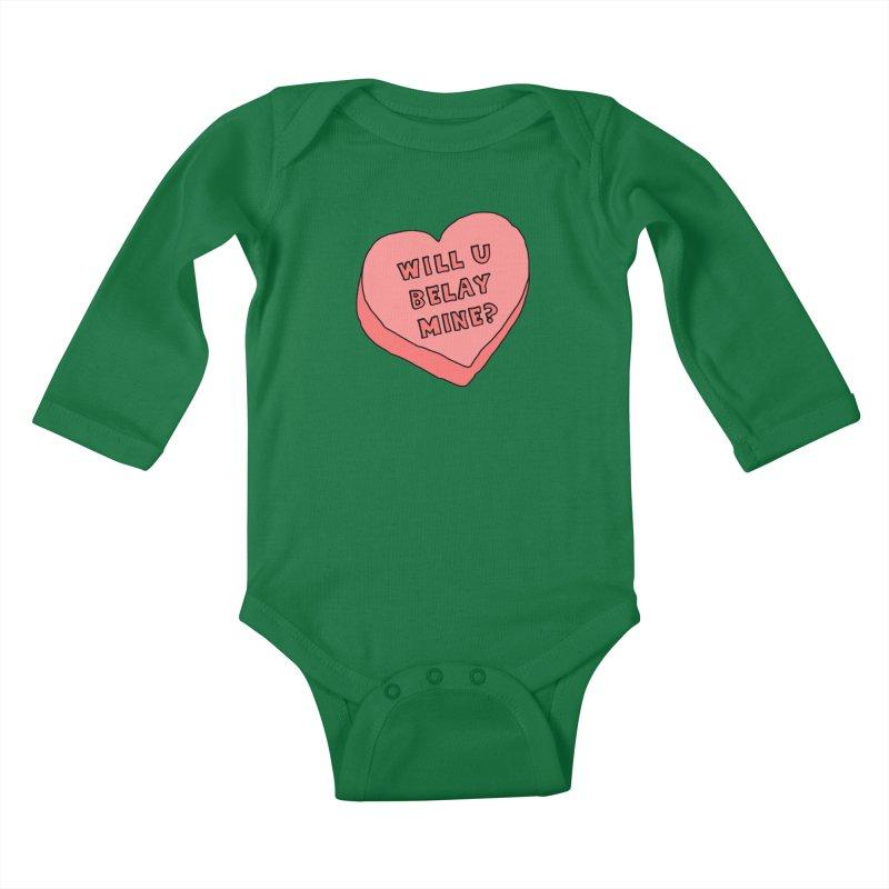 Will U Belay Mine? Kids Baby Longsleeve Bodysuit by The Wandering Fools
