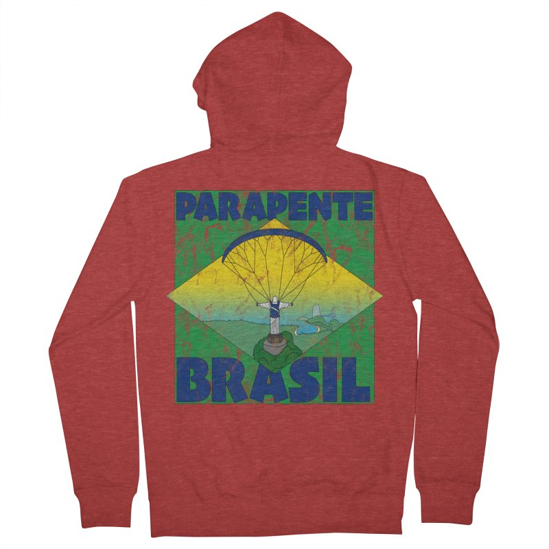 Parapente Brasil - Paraglide Brazil - Grunge Men's French Terry Zip-Up Hoody by The Wandering Fools