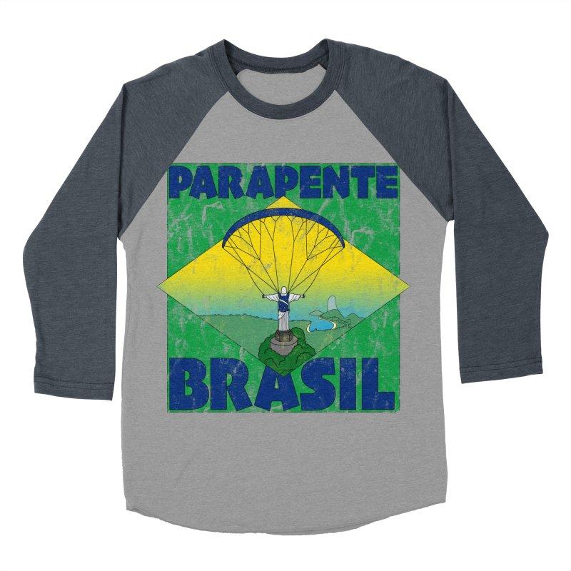 Parapente Brasil - Paraglide Brazil - Grunge Men's Baseball Triblend Longsleeve T-Shirt by The Wandering Fools