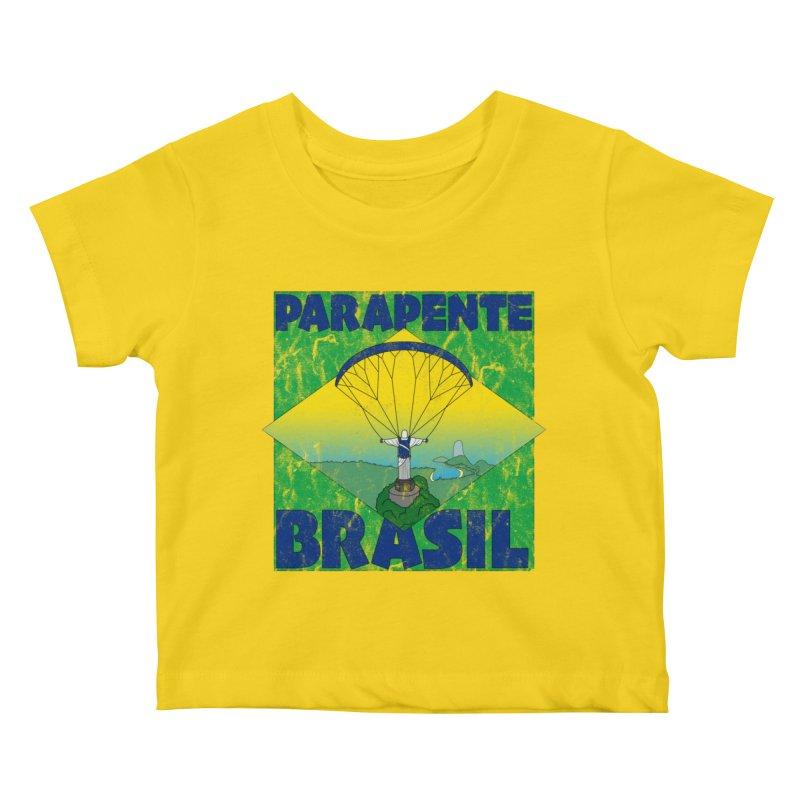 Parapente Brasil - Paraglide Brazil - Grunge Kids Baby T-Shirt by The Wandering Fools
