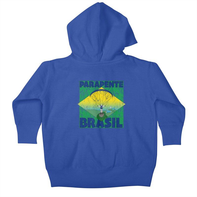 Parapente Brasil - Paraglide Brazil - Grunge Kids Baby Zip-Up Hoody by The Wandering Fools